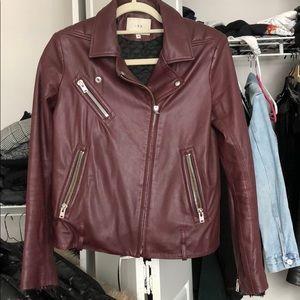 Iro burgundy leather biker jacket